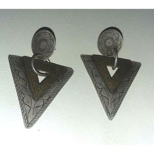 Jewelry - Boho Silver & Copper Toned Etched Earrings